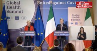 """Global Health Summit, Draghi: """"Impegni per paesi poveri e sui brevetti vaccini sinceri, ma è solo il primo passo"""""""