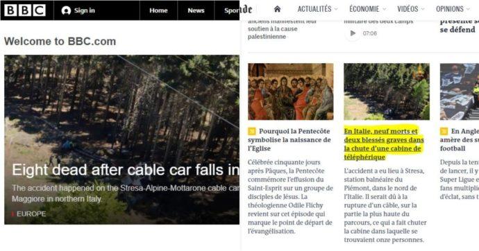 Tragedia della cabinovia sul Mottarone, la notizia sui giornali di tutto il mondo