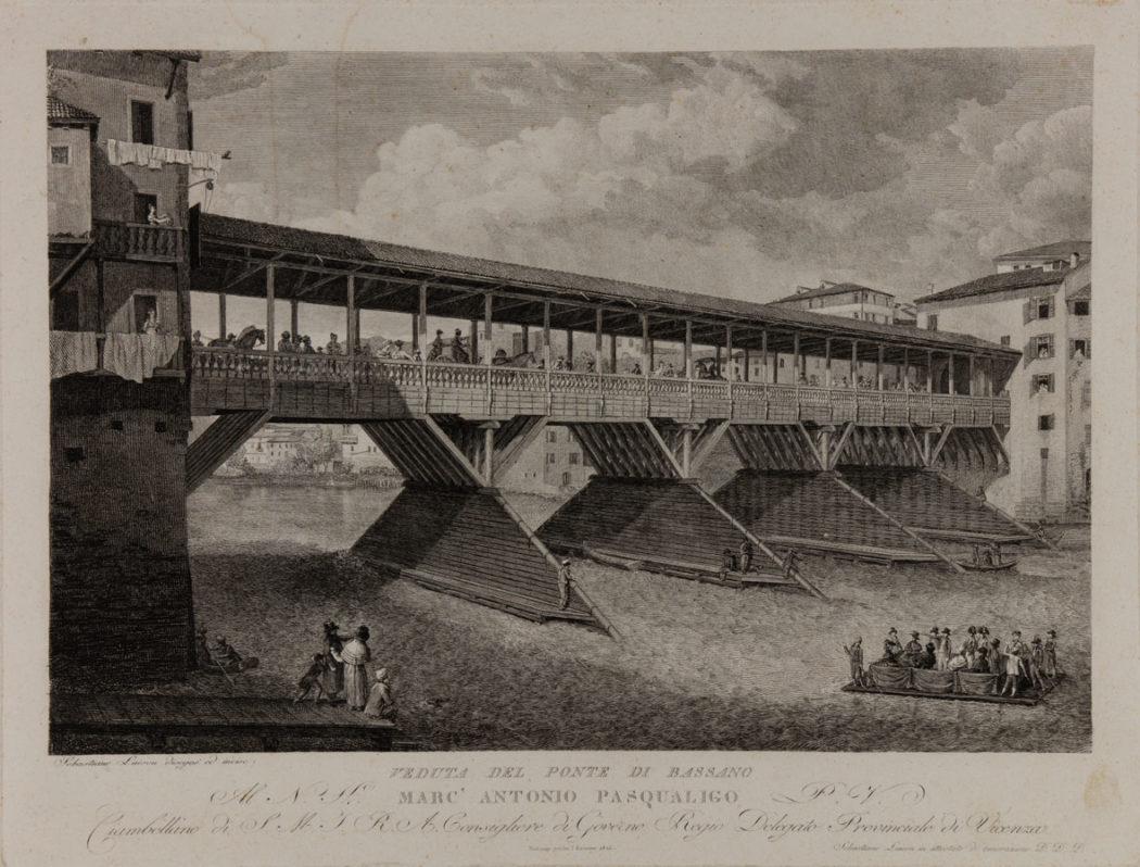4- Sebastiano Lovison, Ponte Vecchio di Bassano, 1826 Incisione a bulino, 330×430 mm. Museo Civico, Bassano del Grappa