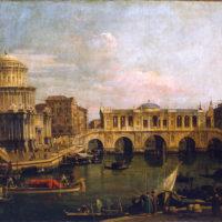 6- Antonio Canaletto (att.), Capriccio con ponte immaginario sul Canal Grande, seconda metà del XVIII sec. Olio su tela, 580×820 mm. Complesso monumentale della Pilotta, Parma