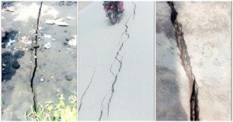 Congo, dopo l'eruzione del vulcano Nyiragongo, si formano enormi crepe nelle strade di Goma - Video