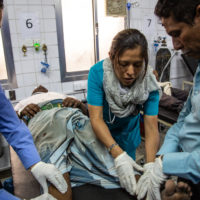 Yemen, Hodeidah, Al Salakhana hospital, 30 April 2019 – Dr Lupita Noria Garcia, ER doctor, is examining a patient injured during a road traffic accident.