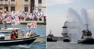 Venezia, ritornano le grandi navi: in migliaia sui barchini contro i giganti del mare. Le istituzioni manifestano a favore con i portuali