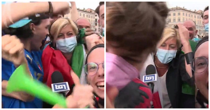 Tifosi travolgono l'inviata del Tg1 Valentina Bisti, Giorgino costretto ad interrompere il collegamento