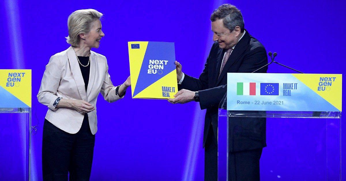 """Show Draghi-VdL per l'avviso ai partiti """"Farete le riforme"""""""