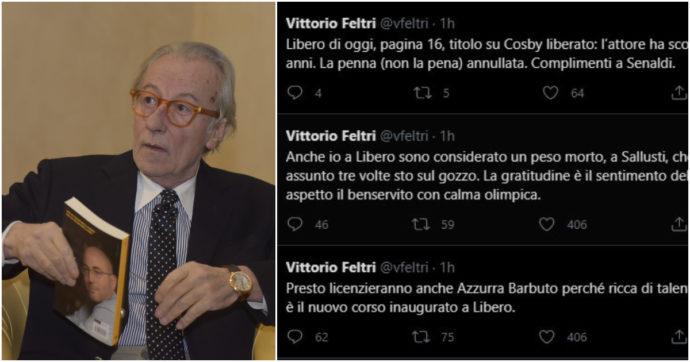 """""""Cacciati i più bravi"""", """"a Sallusti sto sul gozzo"""", """"mi aspetto il benservito"""": Vittorio Feltri distrugge (su Twitter) il nuovo corso di Libero"""