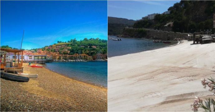 """Isola d'Elba, il Comune usa la sabbia di Stintino per il ripascimento e la """"Spiaggia Rossa"""" ora è bianca. La protesta di Legambiente"""