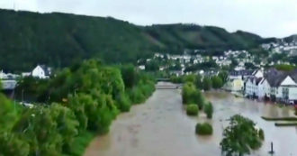 Germany, Schultz municipality, submerged by river flood: Aerial images with drone