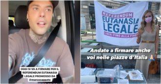 """Eutanasia legale, Fedez e Chiara Ferragni firmano il referendum: """"Passo avanti per il nostro Paese, fatelo anche voi"""""""