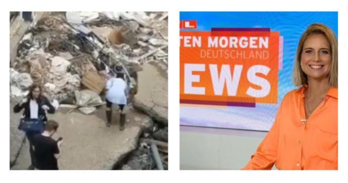 Giornalista tedesca si cosparge vestiti e faccia di fango prima della diretta dalle zone alluvionate: sospesa