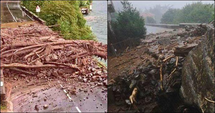 """Frane e strade allagate nel Comasco: i danni del maltempo. La polizia: """"Non uscite di casa se non è strettamente necessario"""""""