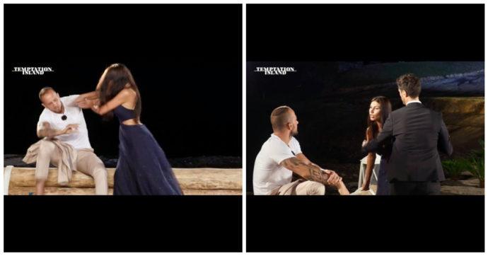 """Temptation Island, Manuela dà un ceffone a Stefano: """"Porco"""". Filippo Bisciglia costretto a dividerli: brutte immagini"""