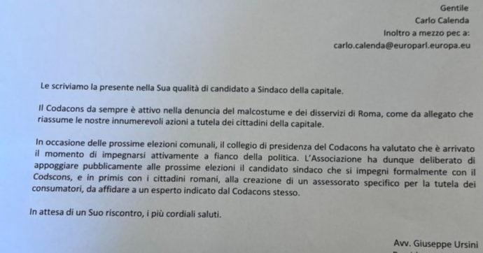 """Il Codacons si offre a Calenda in cambio di un assessorato. E scrive: """"Da sempre ci battiamo contro il malcostume"""""""