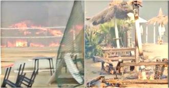 Incendi a Catania, uno stabilimento balneare in fiamme: la struttura distrutta dalla furia dell'incendio - Video