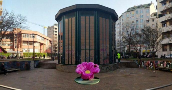 """Un fiore colorato """"spunta"""" in una via di Milano: la street art di Pao"""