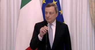 """Reddito di cittadinanza, Draghi: """"Condivido in pieno il concetto alla base. Presto per dire se verrà riformato"""" – video"""