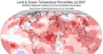 """Agenzia Usa per il clima: """"Luglio 2021 il mese più caldo di sempre. Nell'emisfero Nord temperature di 1,5 gradi sopra la media"""""""