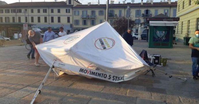 """Assalto dei No Green pass a gazebo del M5s: solidarietà da Pd, Leu, Iv e Forza Italia. Di Maio: """"Tutti i partiti prendano le distanze"""""""