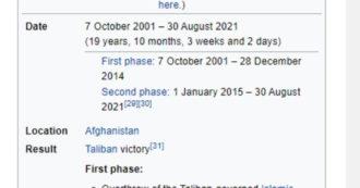 Afghanistan, il sigillo di Wikipedia. L'enciclopedia on line attribuisce ai Talebani la vittoria nella guerra iniziata vent'anni fa