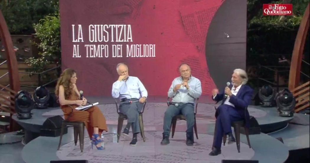 """Giustizia, il dibattito alla Festa del Fatto con Scarpinato, Gratteri e Davigo. Che dice: """"La Lega prende in giro i suoi elettori con i referendum"""""""