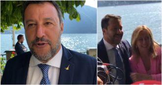 """Salvini a Cernobbio dalla parte delle imprese (e contro i poveri): """"Diamo a loro soldi del reddito di cittadinanza"""". E si abbraccia con Meloni: """"Governeremo insieme"""""""