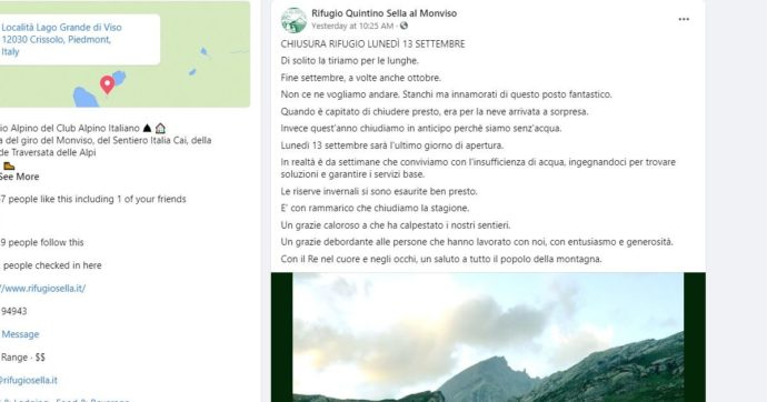 """Il rifugio Quintino Sella sul Monviso costretto a chiudere: """"Finite riserve d'acqua invernali"""""""