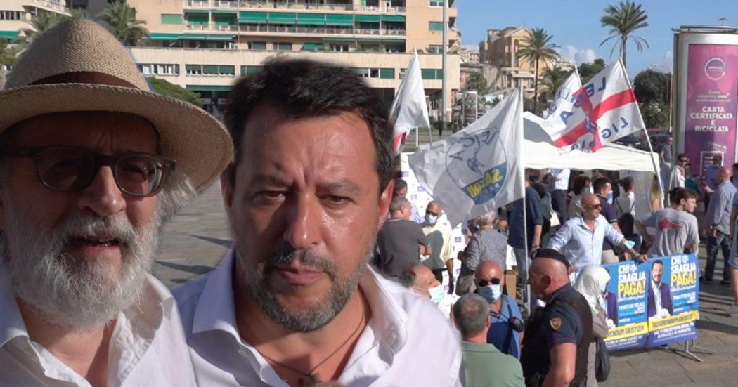 """Lega, al gazebo le voci dei sostenitori su green pass e a favore del nucleare. Salvini insiste col reddito di cittadinanza: """"Lo toglierei"""""""