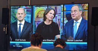 Elezioni Germania, l'ultima sfida in tv tra Scholz, Laschet e Baerbock: Spd e Verdi uniti sul salario minimo a 12 euro, Cdu contraria