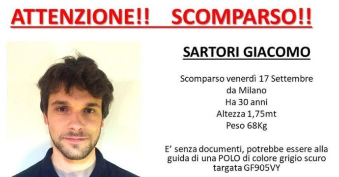 Giacomo Sartori, giovane di 30 anni sparito a Milano dopo il furto del suo zaino. Ritrovata l'auto in provincia di Pavia
