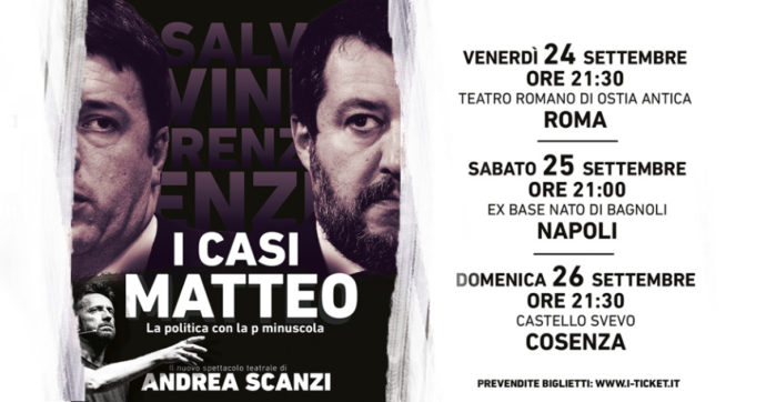 """Andrea Scanzi sold out a Roma con lo spettacolo """"I casi Matteo, la politica con la p minuscola"""". Stasera la tappa di Napoli"""