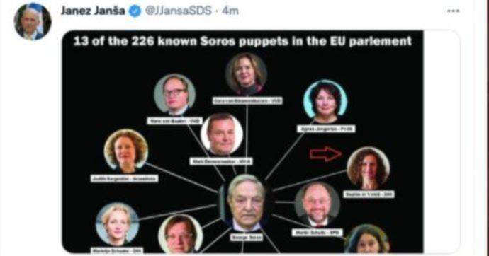 """Premier Slovenia pubblica immagine con 13 eurodeputati """"burattini di Soros"""", uno è morto. """"È presidente del Consiglio Ue, chieda scusa"""""""